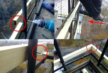 Этапы крепления каркаса балкона под профнастил
