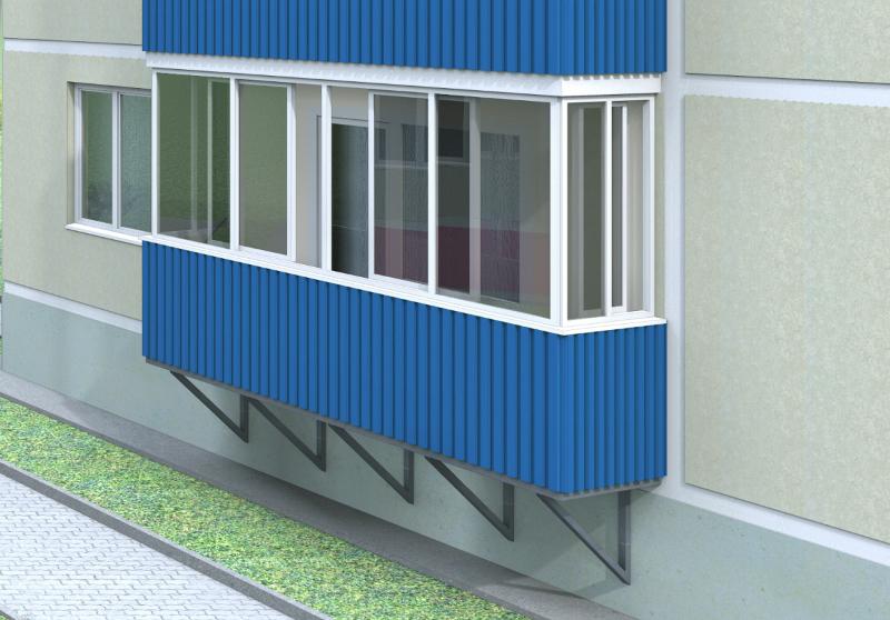 Наружная отделка балкона профлистом