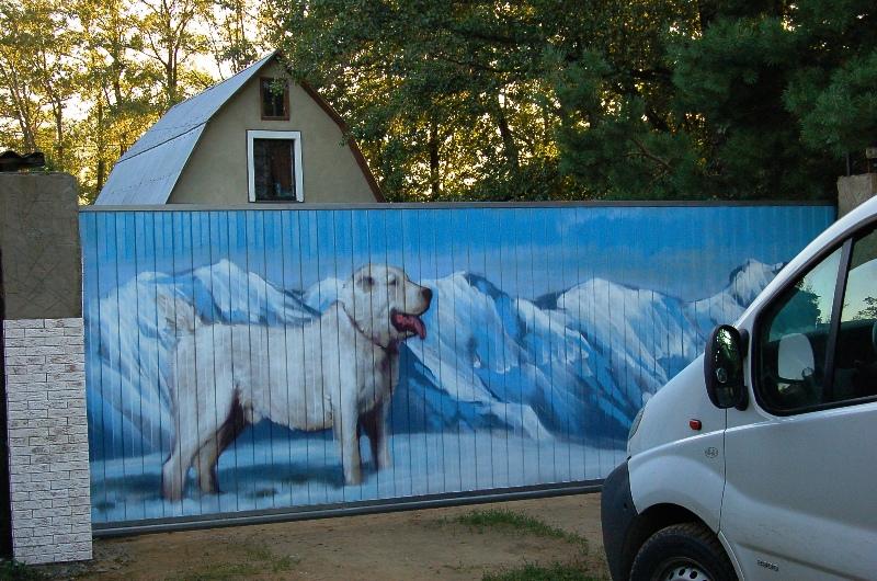 Пример картины на заборе из профнастила