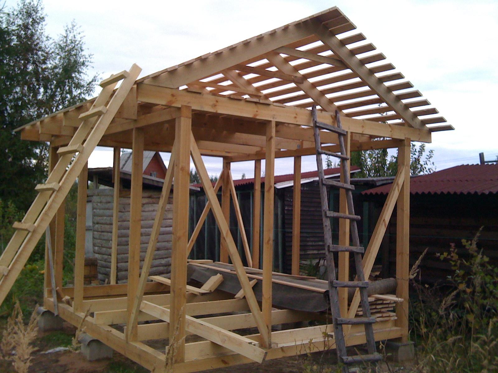 Деревянный каркас для строительства сарая