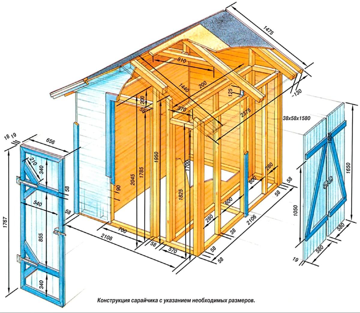 Схема постройки сарая