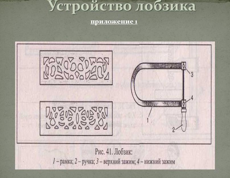Устройство ручного лобзика
